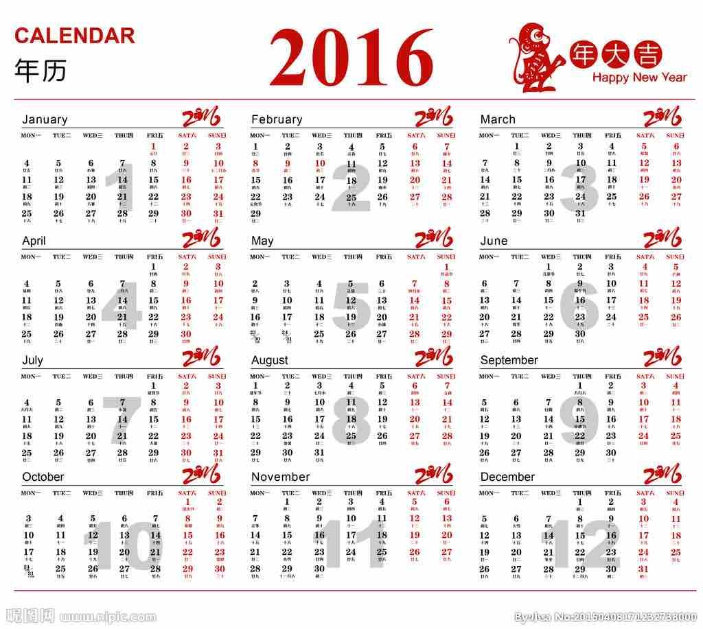 Chinesische Kalender, der chinesische Mondkalender 2016, Jahr des Affen