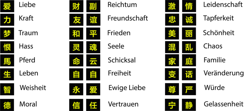 chinesische tattoos mit chinesischen schriftzeichen der. Black Bedroom Furniture Sets. Home Design Ideas